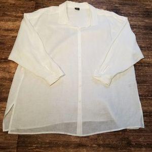 Eileen Fisher Irish Linen Button Up Tunic 2X